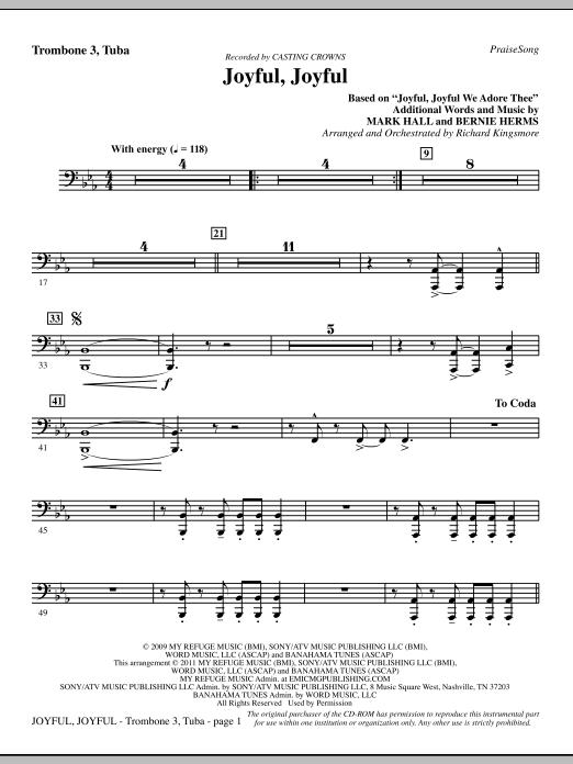 Joyful, Joyful - Trombone 3/Tuba (Choir Instrumental Pak)