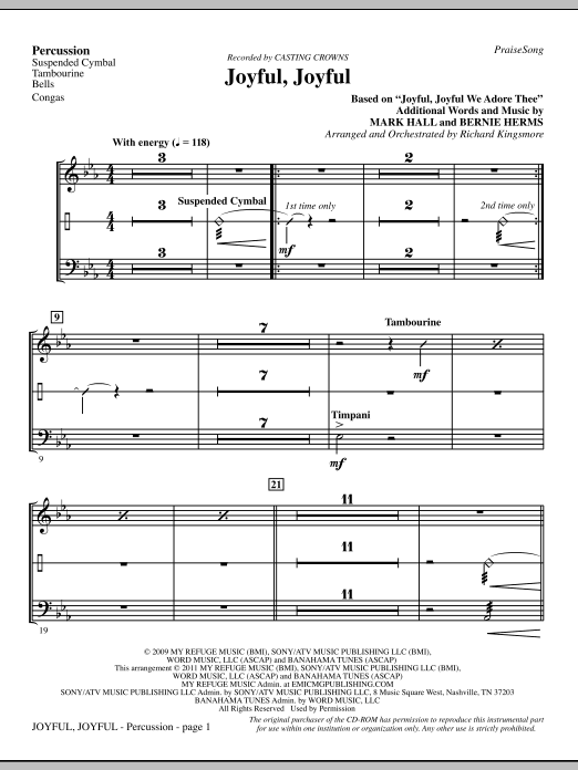 Joyful, Joyful - Percussion (Choir Instrumental Pak)