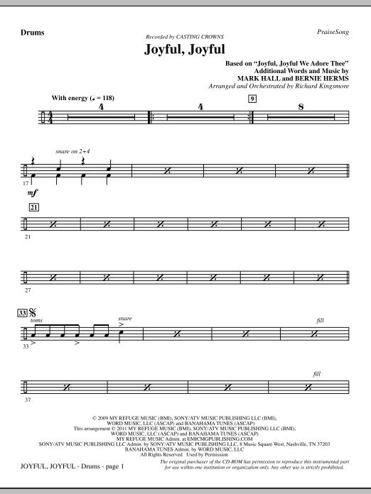 Joyful, Joyful - Drums (Choir Instrumental Pak)
