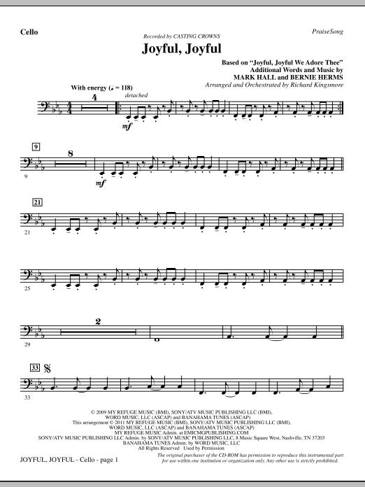 Joyful, Joyful - Cello (Choir Instrumental Pak)