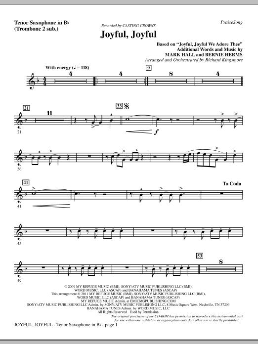Joyful, Joyful - Tenor Sax (sub. Tbn 2) (Choir Instrumental Pak)