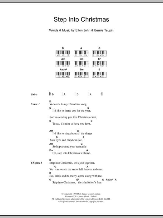 Step Into Christmas.Step Into Christmas By Elton John Piano Vocal Guitar Digital Sheet Music