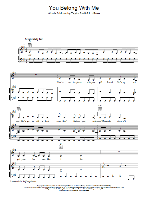 You Belong With Me | Sheet Music Direct