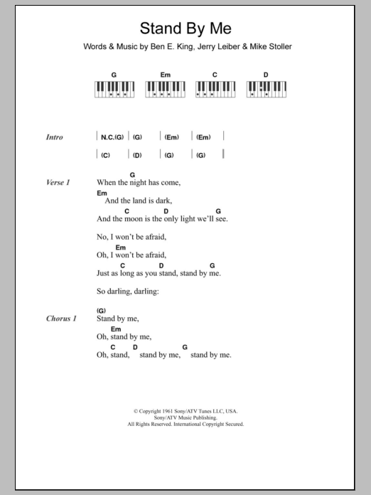 Stand By Me Sheet Music Ben E King Lyrics Piano Chords
