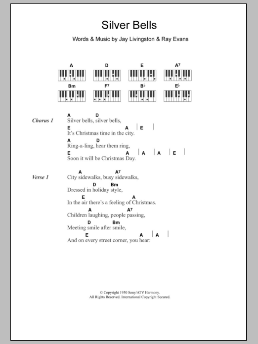 Silver Bells | Jerry Vale | Lyrics & Piano Chords