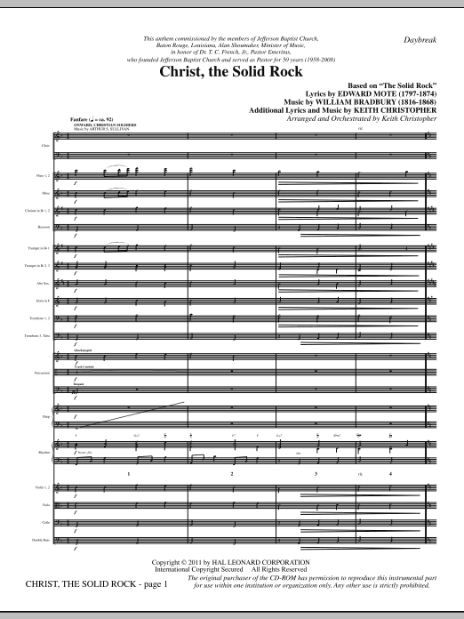 Christ, The Solid Rock (complete set of parts) sheet music for orchestra/band (Orchestra) by Keith Christopher, Edward Mote and William Bradbury. Score Image Preview.