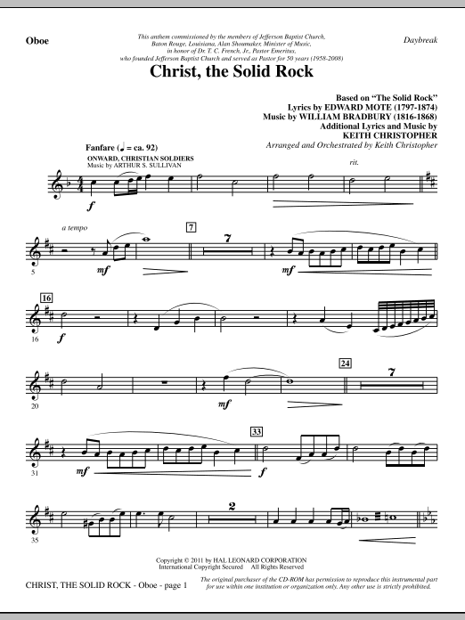 Christ, The Solid Rock - Oboe Sheet Music