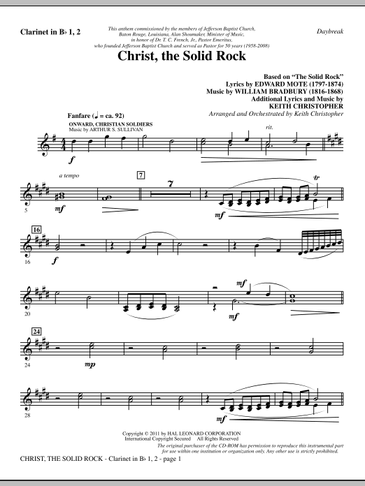 Christ, The Solid Rock - Bb Clarinet 1 & 2 Sheet Music