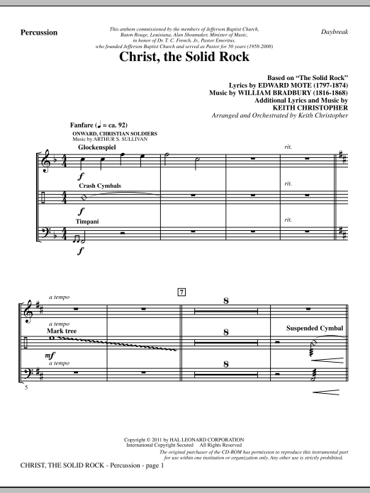 Christ, The Solid Rock - Percussion Sheet Music