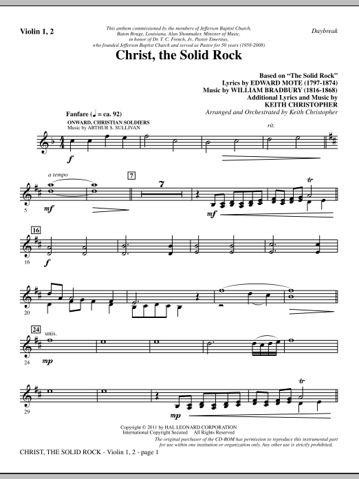 Christ, The Solid Rock - Violin 1, 2 Sheet Music