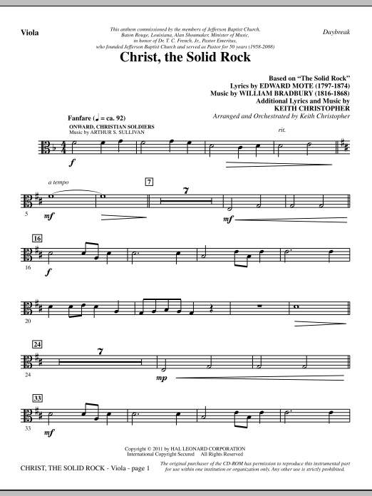 Christ, The Solid Rock - Viola Sheet Music