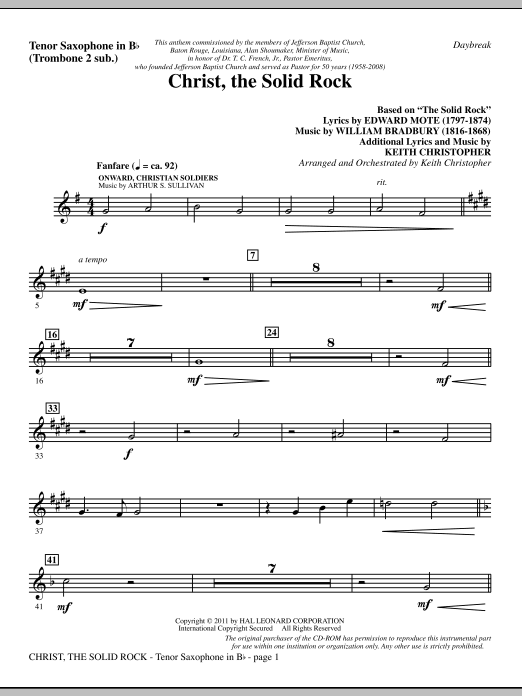 Christ, The Solid Rock - Tenor Sax (sub. Tbn 2) (Choir Instrumental Pak)