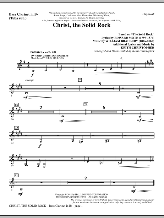 Christ, The Solid Rock - Bass Clarinet (sub. Tuba) Sheet Music