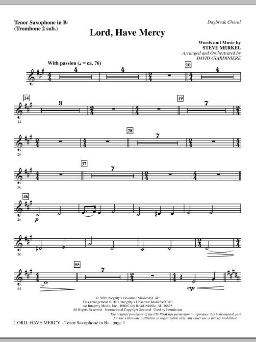 Lord Have Mercy - Tenor Sax (sub. Tbn 2) Sheet Music