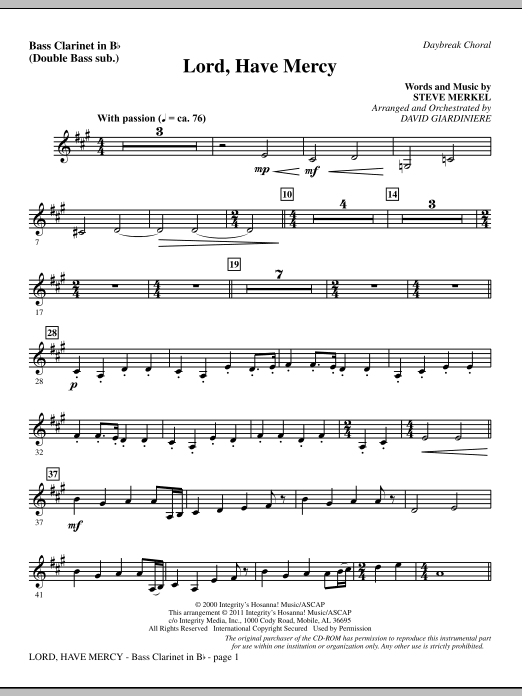 Lord Have Mercy - Bass Clarinet (sub. dbl bass) Sheet Music