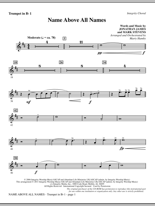 Name Above All Names - Bb Trumpet 1 Sheet Music