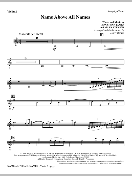 Name Above All Names - Violin 2 (Choir Instrumental Pak)
