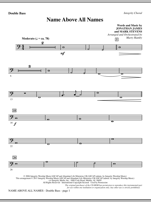 Name Above All Names - Double Bass Sheet Music