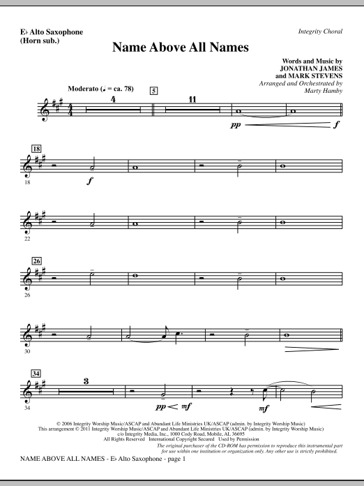 Name Above All Names - Alto Sax (sub. Horn) Sheet Music
