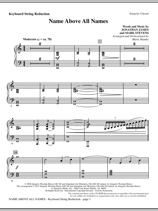 Name Above All Names - Keyboard String Reduction (Choir Instrumental Pak)