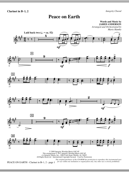 Peace On Earth - Clarinet 1 & 2 (Choir Instrumental Pak)