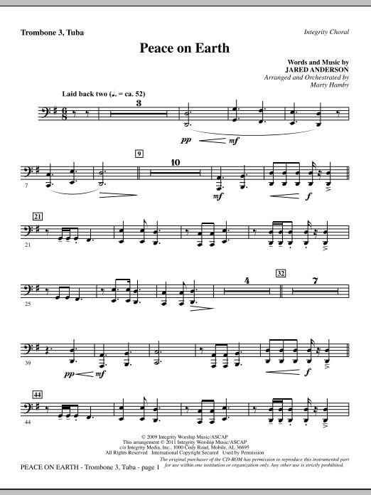 Peace On Earth - Trombone 3/Tuba (Choir Instrumental Pak)