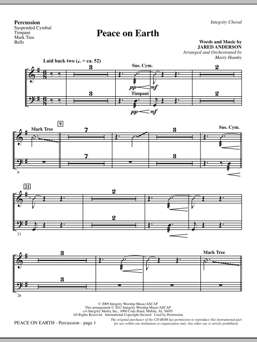 Peace On Earth - Percussion (Choir Instrumental Pak)