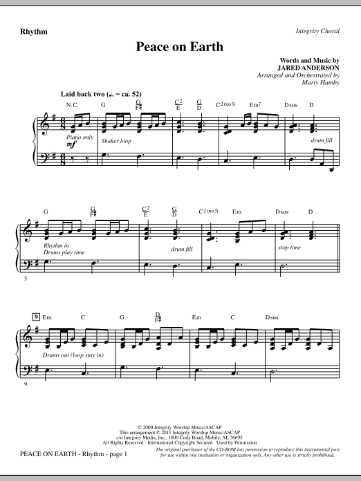 Peace On Earth - Rhythm (Choir Instrumental Pak)