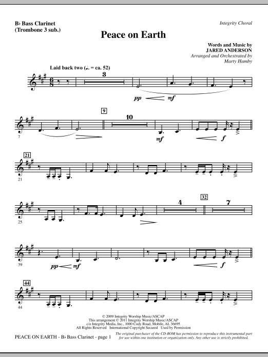 Peace On Earth - Bass Clarinet (sub. tbn. 3) (Choir Instrumental Pak)