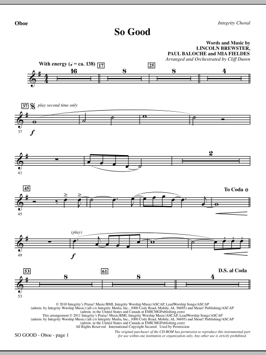 So Good - Oboe Sheet Music
