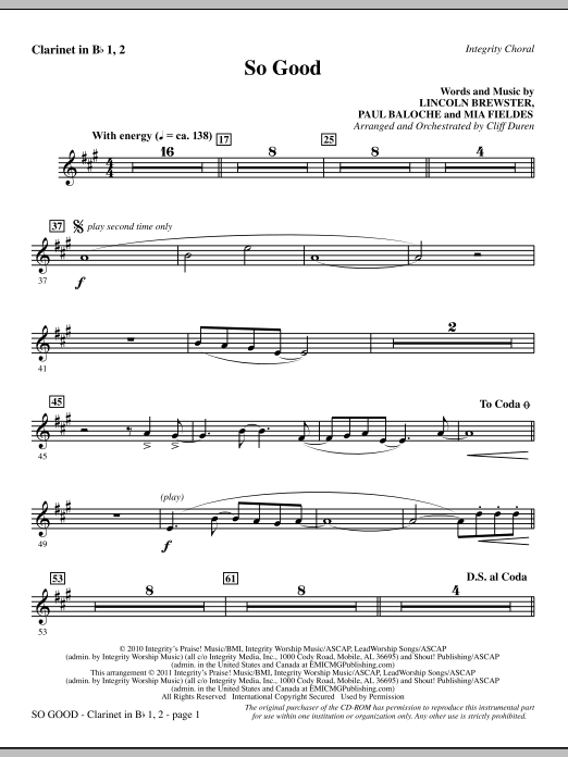 So Good - Clarinet 1 & 2 Sheet Music