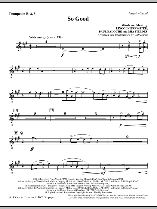 So Good - Bb Trumpet 2,3 (Choir Instrumental Pak)