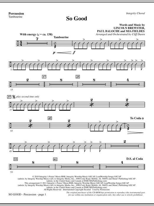 So Good - Percussion (Choir Instrumental Pak)