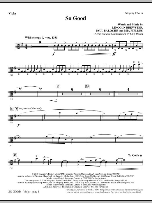 So Good - Viola Sheet Music