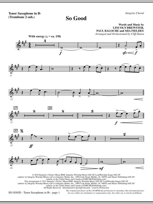 So Good - Tenor Sax (sub. Tbn 2) Sheet Music