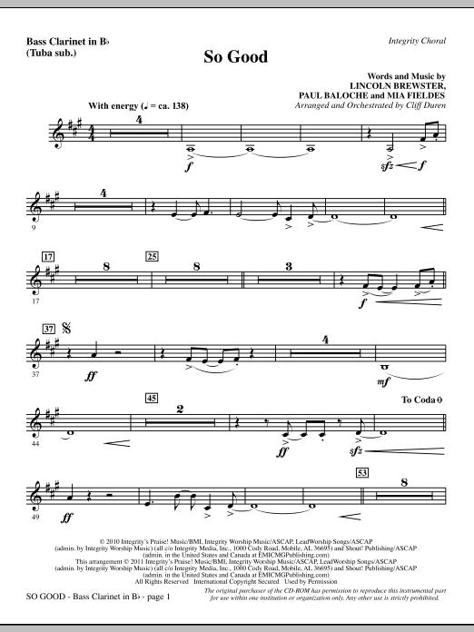 So Good - Bass Clarinet (sub. dbl bass) Sheet Music