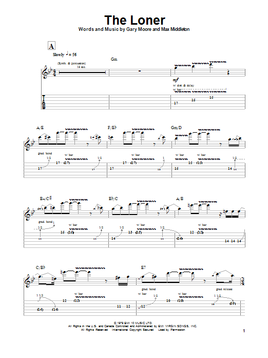 Tablature guitare The Loner de Gary Moore - Autre