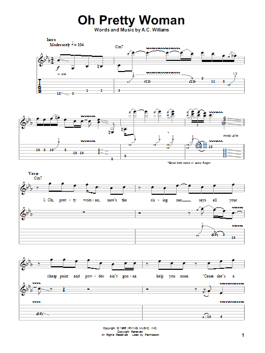 Oh Pretty Woman By Gary Moore Guitar Tab Play Along Guitar