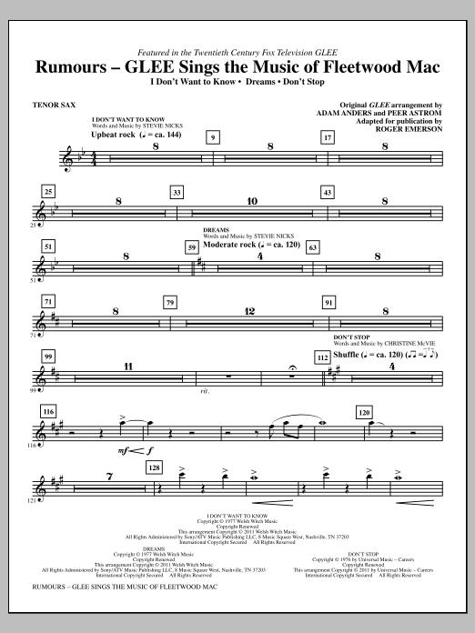Rumours: Glee Sings The Music Of Fleetwood Mac - Bb Tenor Saxophone (Choir Instrumental Pak)