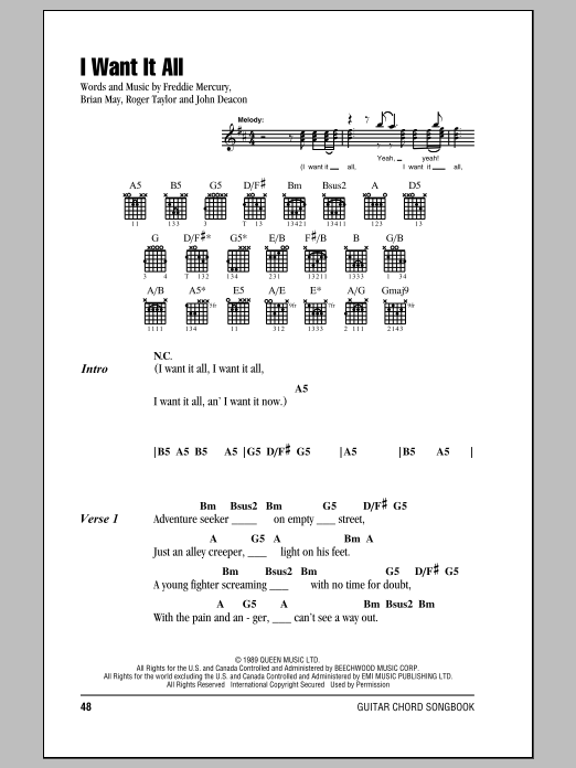 I Want It All Sheet Music