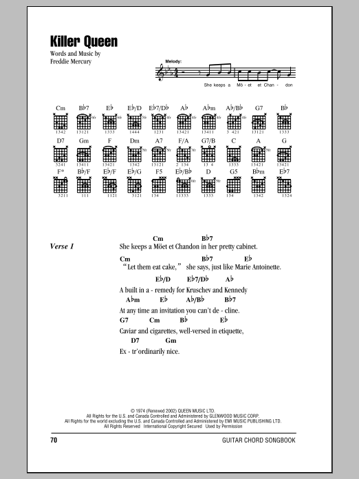 Killer Queen Sheet Music
