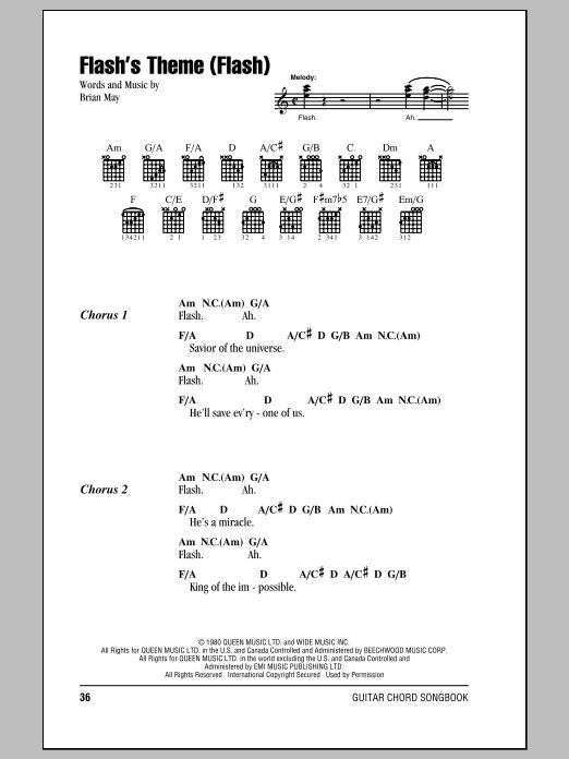 Flash's Theme (Flash) (Guitar Chords/Lyrics)