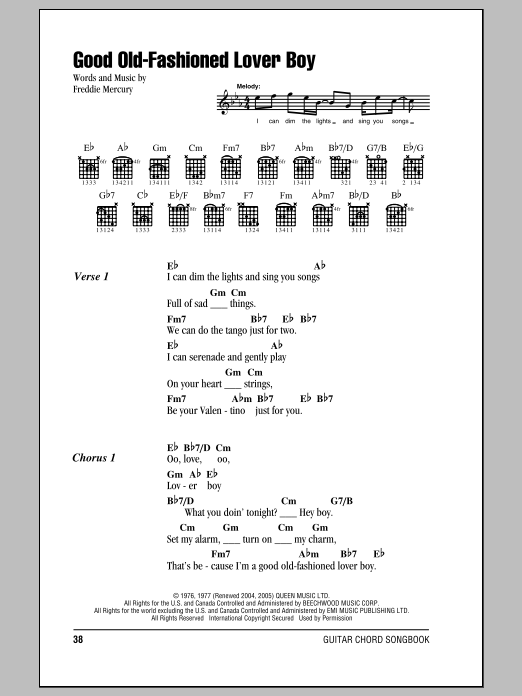 Good Old-Fashioned Lover Boy | Sheet Music Direct