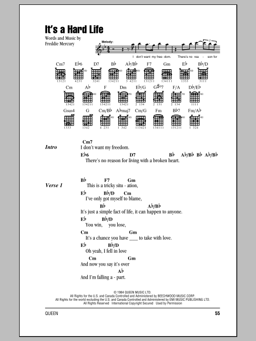 It's A Hard Life (Guitar Chords/Lyrics)
