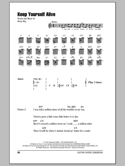 Keep Yourself Alive Sheet Music