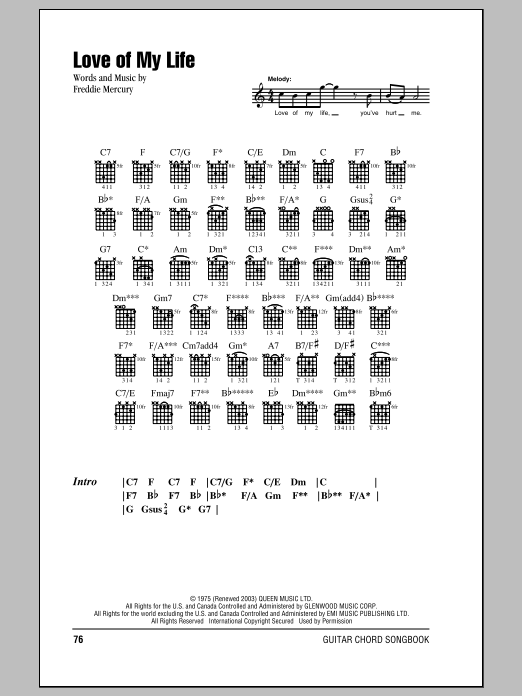 Love Of My Life by Queen Guitar Chords/Lyrics Digital Sheet Music
