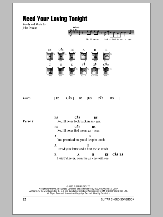 Need Your Loving Tonight (Guitar Chords/Lyrics)