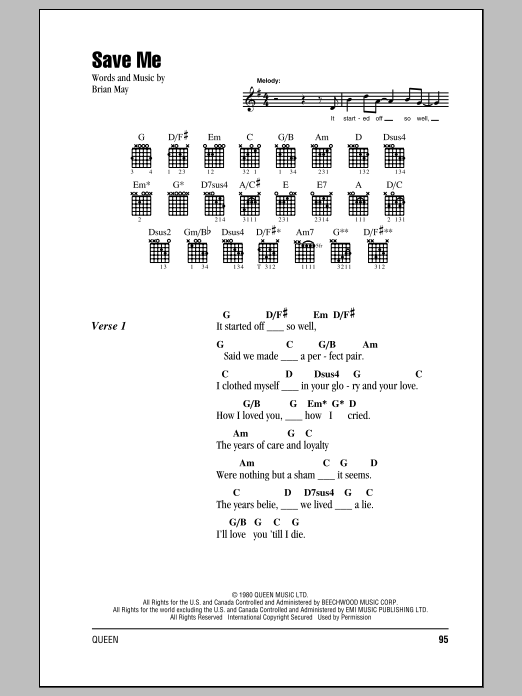 Save Me Sheet Music