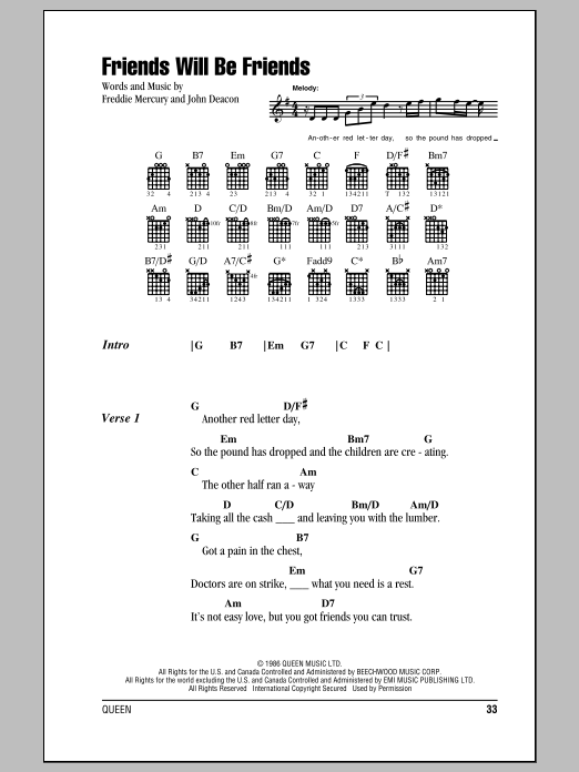 Friends Will Be Friends (Guitar Chords/Lyrics)