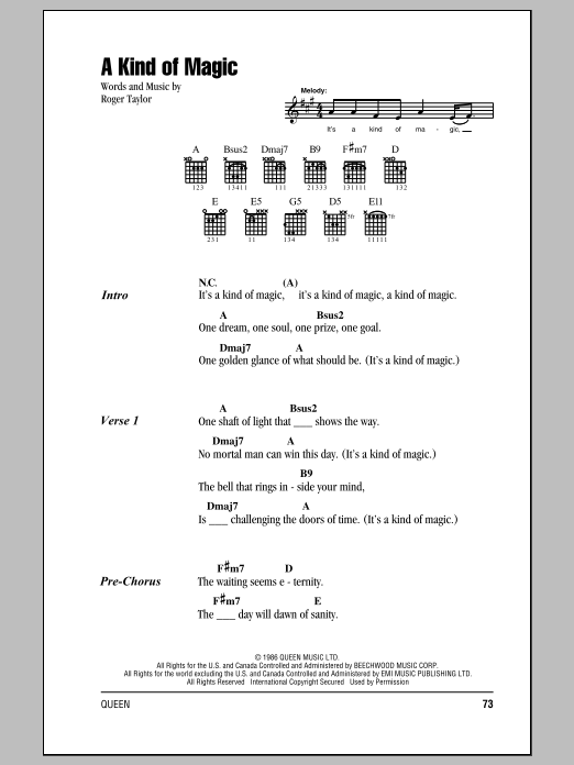 A Kind Of Magic Sheet Music